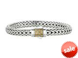 "Phillip Gavriel 7mm Sterling Silver with Yellow Sapphire Wide Wheat Patterned 8.25"" Bracelet style: 460367"