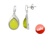 Sterling Silver Light Green Simulated Cat`s Eye Drop Earrings style: 460368