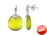 Sterling Silver Light Green Simulated Cat`s Eye Drop Earrings style: 460370
