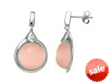Sterling Silver Light Pink Round Simulated Cat`s Eye Drop Earrings style: 460371