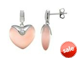 Sterling Silver Light Pink Heart Simulated Cat`s Eye Drop Earrings style: 460372