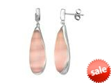 Sterling Silver Light Pink Long Simulated Cat`s Eye Drop Earrings style: 460373