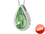 Sterling Silver 1.1mm Cable Chain Link Simulated Peridot Teardrop Ladies Pendant style: 460378