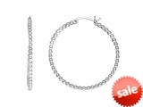 Sterling Silver Bright Cut Hoop Earrings style: 460384