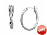 Sterling Silver Shiny Textured Stardust Twisted Oval Hoop Earrings style: 460387