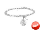 Sterling Silver 4.0mm Alternate Shiny Cross Slip On Ladies Bracelet style: 460393
