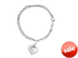 "Sterling Silver 7"" Shiny bright-cut Heart Ladies Bracelet style: 460394"