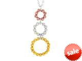 Sterling Silver, Yellow and Rose Finish Ladies Necklace style: 460403