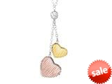 "Sterling Silver with Rose and Yellow Finish Shiny Diamond Cut Hearts Bird""s Nest Ladies Necklace style: 460409"