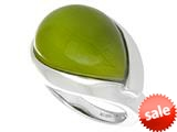 "Sterling Silver Green Simulated Cat""s Eye Ladies Ring style: 460421"
