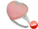 "Sterling Silver Pink Heart Simulated Cat""s Eye Ladies Ring style: 460424"