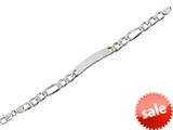 "Sterling Silver 8.5"" 9.25mm bright-cut Figaro Mens Bracelet style: 460433"