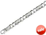 "Sterling Silver 8.5"" 12.30mm Shiny Figure #8 Fancy Link Mens Bracelet style: 460436"