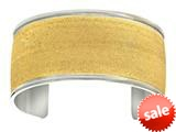 Stainless Steel with Yellow Glitter Finish Cuff Bangle style: 460444