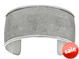 Stainless Steel with White Glitter Finish Domed Cuff Bangle style: 460445