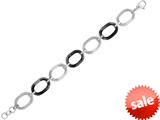 "Stainless Steel 7.5"" Rhodium and Black Finish Ladies Bracelet style: 460448"