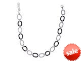 Stainless Steel Rhodium and Black Finish Ladies Necklace style: 460449