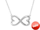 Sterling Silver Infinity Hearts Shiny Ladies Necklace style: 460460