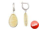 Sterling Silver with Yellow Finish Shiny Diamond Cut Bird`s Nest Teardrop Earrings style: 460473