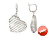 Sterling Silver with Shiny Diamond Cut Bird`s Nest Heart Earrings style: 460474