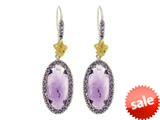 Phillip Gavriel Sterling Silver and 18k Yellow Gold Oval Briollette Amethyst Rock Candy Earrings style: 460477