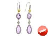 Phillip Gavriel Sterling Silver and 18k Yellow Gold Briollette Amethyst Rock Candy Drop Earrings style: 460479