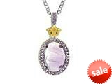 Phillip Gavriel Sterling Silver and 18k Yellow Gold Oval Briollette Amethyst Rock Candy Ladies Pendant style: 460483