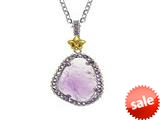 Phillip Gavriel Sterling Silver and 18k Yellow Gold Briollette Amethyst Rock Candy Ladies Pendant style: 460484