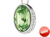 Sterling Silver 1.1mm Cable Chain Link Simulated Peridot Oval Ladies Pendant style: 460487