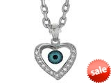 Sterling Silver 18 Inch Heart Evil Eye Pendant
