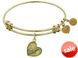 "Angelica Collection Antique Yellow Stipple Finish Brass ""daughter Heart"" Expandable Bangle style: GEL1005"