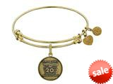 Angelica Collection Brass with Yellow Finish Friends 20th Anniversary Charm Expandable Bangle style: GEL1305
