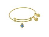 Angelica Collection Brass With Yellow Finish Charm December Heart Shap E CZ Birth Month style: TGEL9024