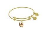 Angelica Collection Yellow Finish Expandable Tween Brass Bangle With L Ove Charm In Yellow Finish style: TGEL9111