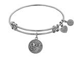 "Angelica Collection Antique White Stipple Finish Brass ""love W/rose"" Expandable Bangle style: WGEL1014"