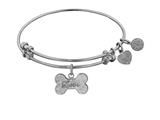 "Non-antique White Stipple Finish Brass ""bone W/ Love"" Angelica Expandable Bangle style: WGEL1015"
