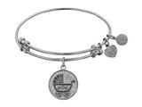 "Non-antique White Stipple Finish Brass ""new Mom"" Angelica Expandable Bangle style: WGEL1026"