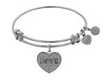 "Non-antique White Stipple Finish Brass ""love W/ Paw "" Angelica Expandable Bangle style: WGEL1028"