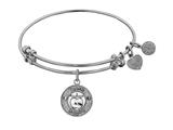 "Non-antique White Stipple Finish Brass ""apple; Teach, Inspire"" Angelica Expandable Bangle style: WGEL1036"