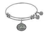 "Angelica Collection Antique White Stipple Finish Brass ""hugs and Kisses"" Expandable Bangle style: WGEL1040"
