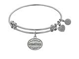 "Non-antique White Stipple Finish Brass ""godmother"" Angelica Expandable Bangle style: WGEL1041"
