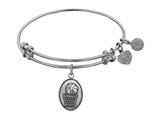 "Angelica Collection Antique White Smooth Finish Brass ""basketball"" Expandable Bangle style: WGEL1043"