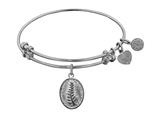 "Non-antique White Stipple Finish Brass ""faith And  Trust"" Angelica Expandable Bangle style: WGEL1135"