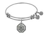 "Angelica Collection Antique White Smooth Finish Brass ""star Of David"" Expandable Bangle style: WGEL1136"