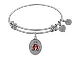 "Angelica Collection Antique White Stipple Finish Brass ""ladybug"" Enamel Expandable Bangle style: WGEL1150"