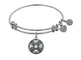 Angelica Antique White Finish Brass March Simulated Aquamarine Birthstone Expandable Bangle style: WGEL1184