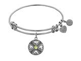 Angelica Collection Antique White Finish Brass August Simulated Peridot Expandable Bangle style: WGEL1189
