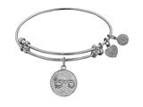 "Non-antique White Stipple Finish Brass ""i Need A Miracle"" Shema-or Angelica Expandable Bangle"