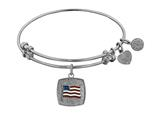Non-antique White Stipple Finish Brass With Enamel American Flag Angelica Expandable Bangle