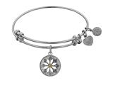 "Non-antique White Stipple Finish Brass With Enamel ""daisy Flower"" Angelica Expandable Bangle"